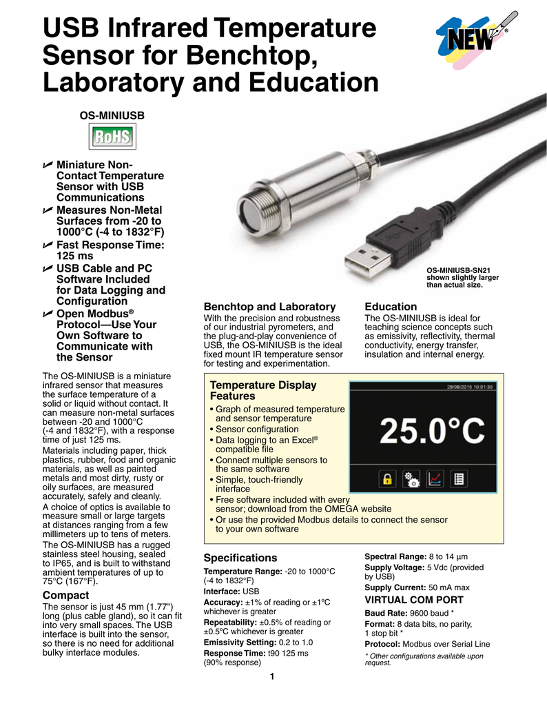 USB Infrared Temperature Sensor for Benchtop, Laboratory and