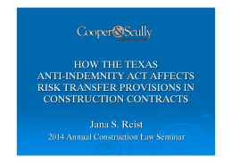 how the texas anti-indemnity act affects risk transfer