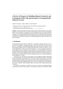 A Review of Progress in Modelling Induced Geoelectric and