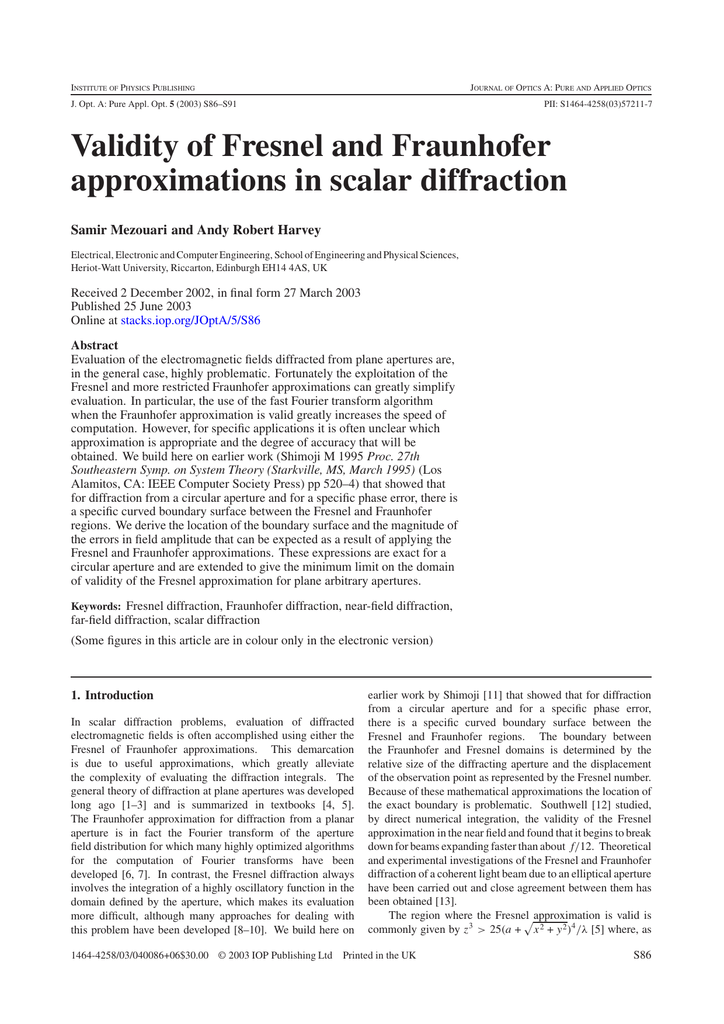Validity of Fresnel and Fraunhofer approximations in scalar