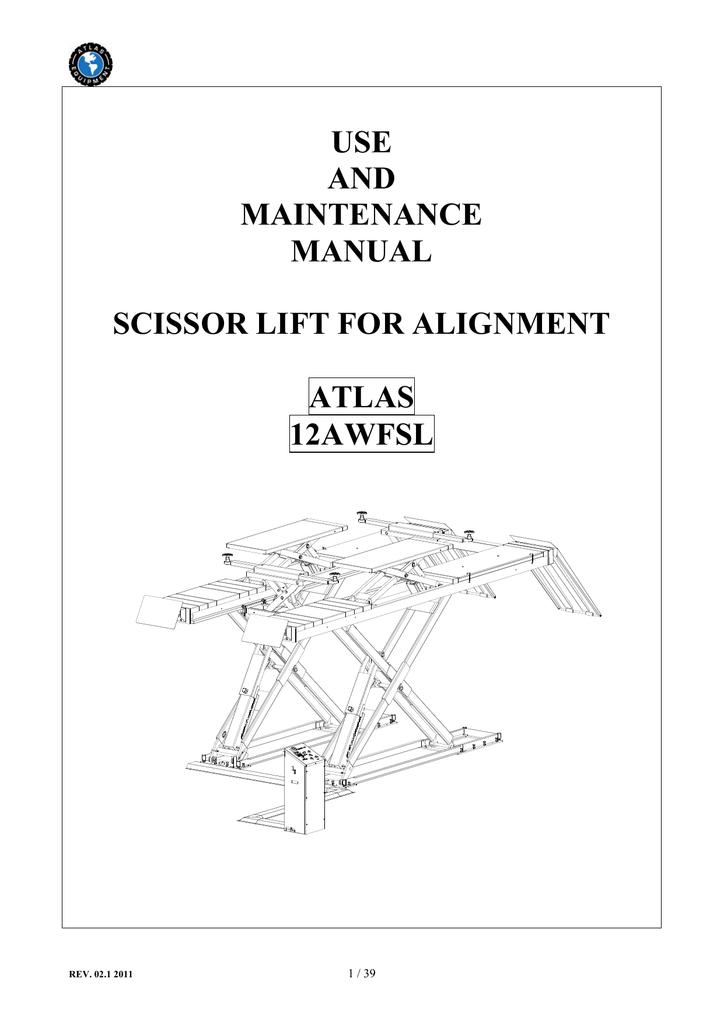 use and maintenance manual scissor lift for alignment atlas