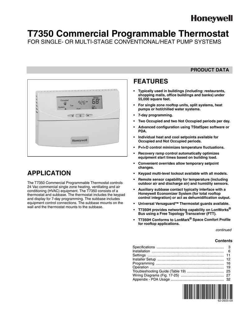 T7350 Commercial Programmable Thermostat Honeywell Economizer Wiring Diagram