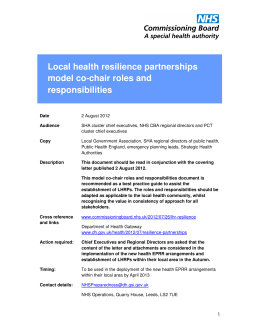 Local health resilience partnerships model co-chair roles