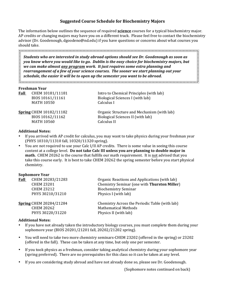 Suggested Course Schedule for Biochemistry Majors