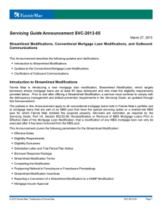 Servicing Guide Announcement SVC-2013-05
