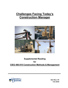 Challenges Facing Today`s Construction Manager