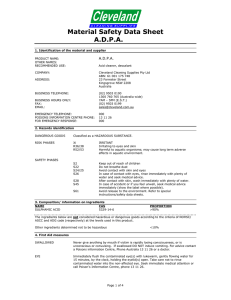 A.D.P.A. MSDS - Cleveland Cleaning Supplies