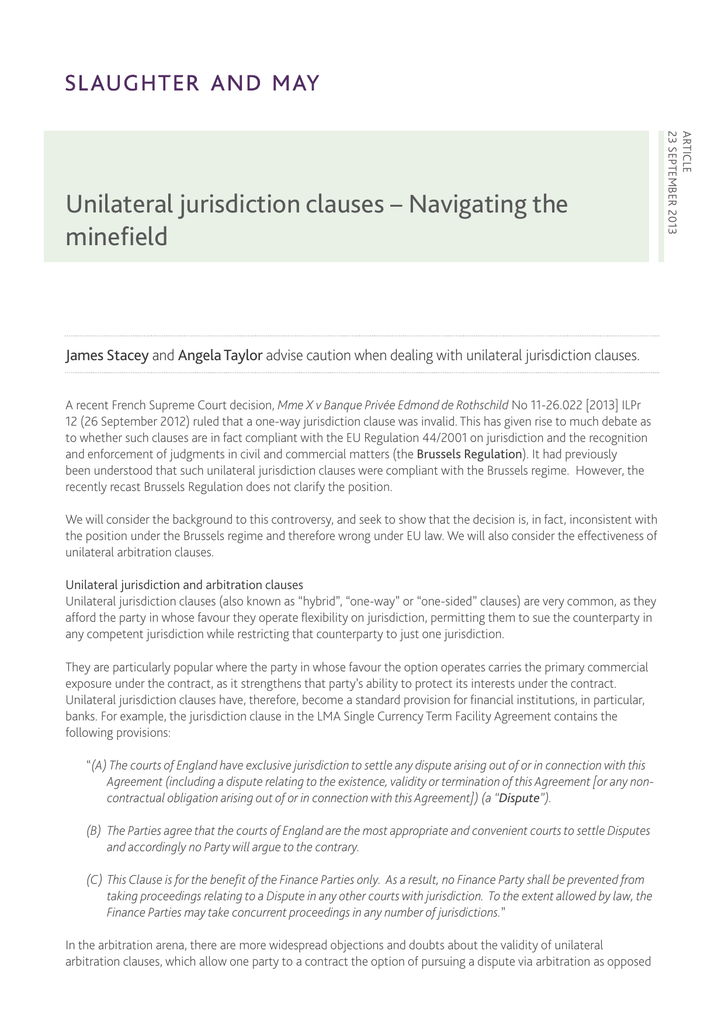 Unilateral Jurisdiction Clauses Navigating The Minefield