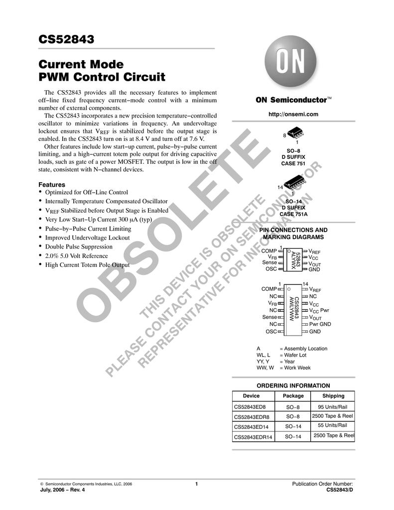 Cs52843 Current Mode Pwm Control Circuit Undervoltage Lockout