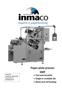 Paper plate presses SMP Experts in paperforming