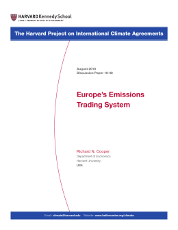 Europe`s Emissions Trading System - Belfer Center for Science and