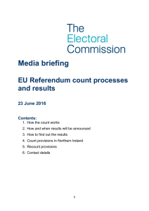 Media briefing - EU Referendum count processes and results