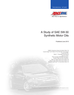 A Study of SAE 5W-30 Synthetic Motor Oils