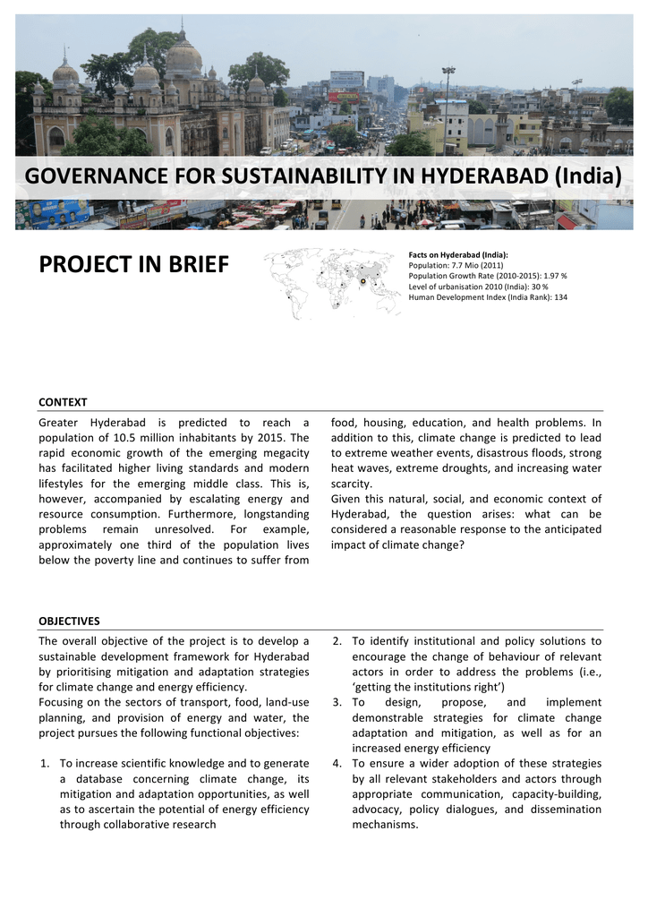 governance for sustainability in hyderabad (india