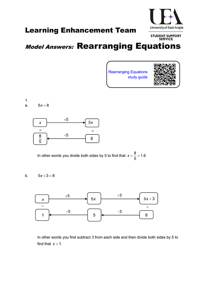 Rearranging equations model answers