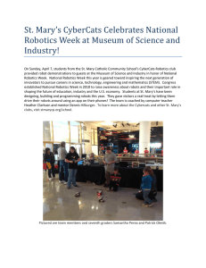 St. Mary`s CyberCats Celebrates National Robotics Week at