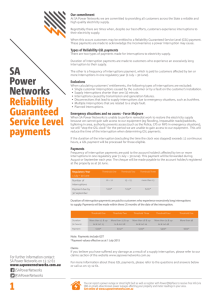 SA Power Networks 1 Reliability Guaranteed Service Level payments