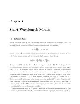 Chapter 5 Short Wavelength Modes