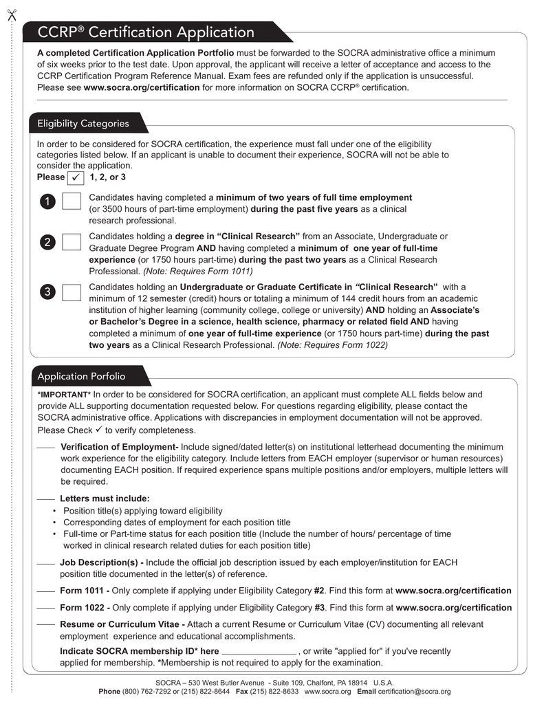 Ccrp Certification Application Ccrp