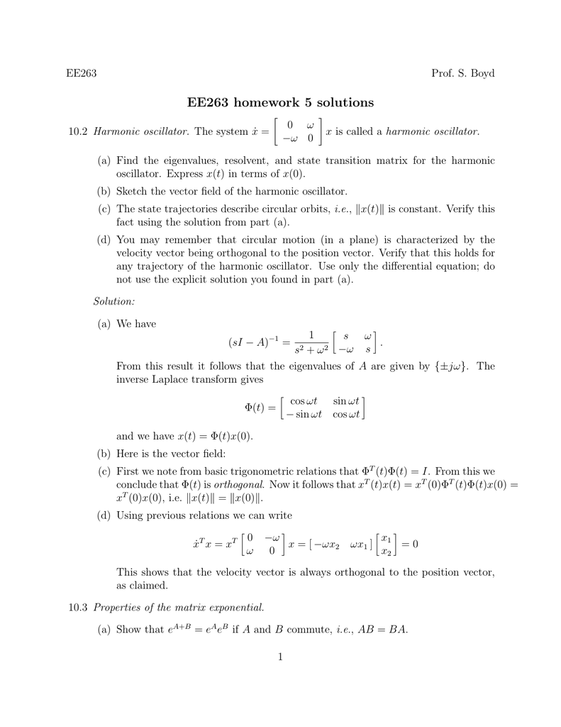 ee263 homework 3 solutions