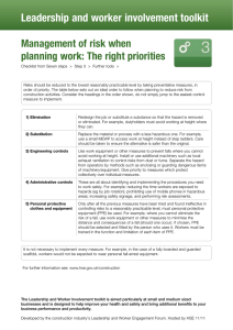 Management of risk when planning work: The right priorities