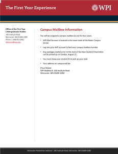 Campus Mailbox Information - The First Year Experience