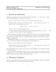 1 Proofs by Induction 2 Fibonacci Numbers