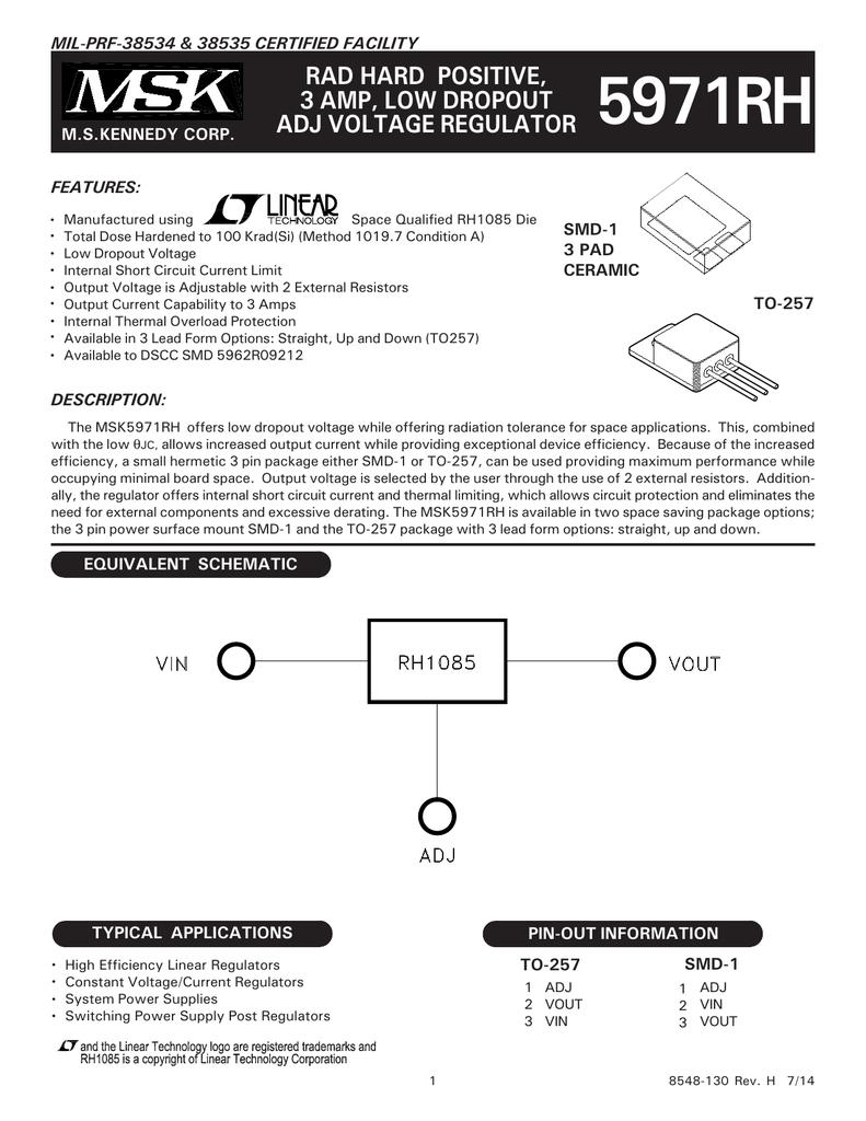 5971rh Ms Kennedy Adjustable Voltage Regulator 3 Ampere