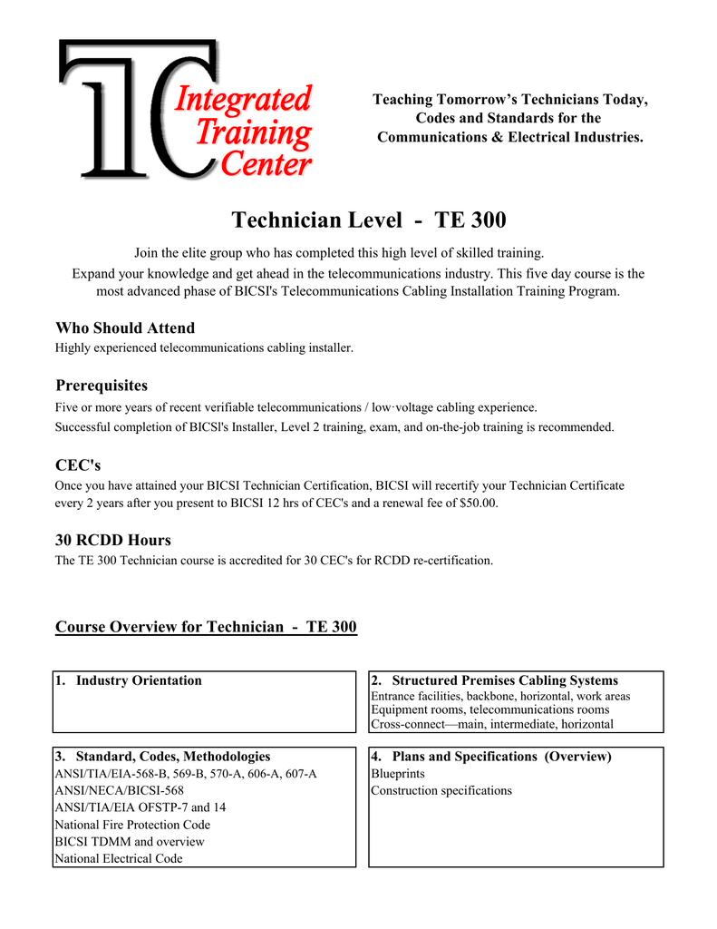 Technician Te300 Integrated Technologies Corporation