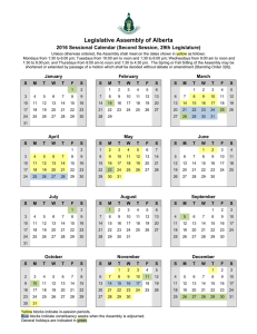 Calendar - Legislative Assembly of Alberta