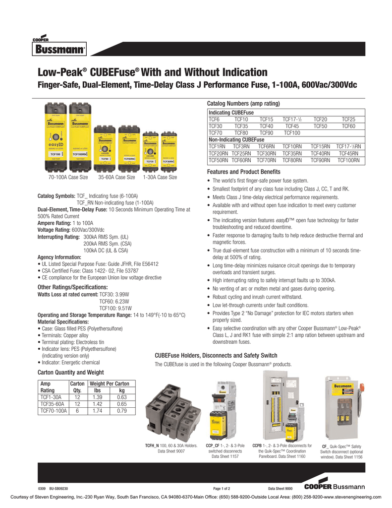 Low Peak Cubefuse With And Without Indication 2 Way Switch Datasheet