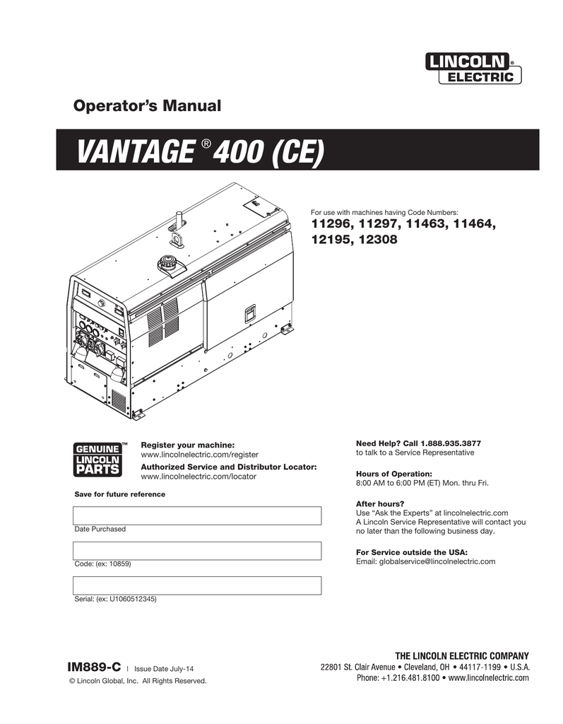 Vantage 400 Ce Lincoln Electric Gas Welding Equipment Diagram