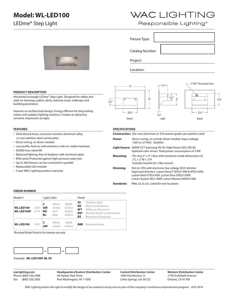 WAC Lighting WL-LED100-RD-BZ 120V Horizontal Step Light with Red
