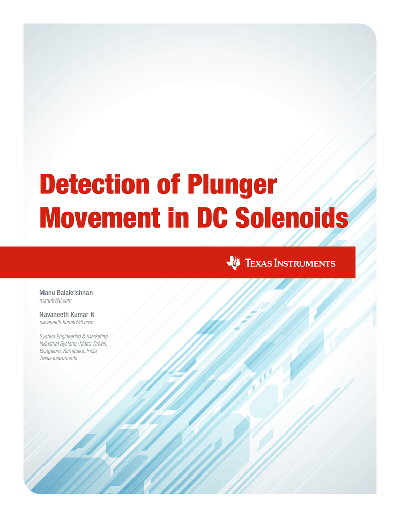 Detection Of Plunger Movement In Dc Solenoids White Paper These Solenoid Voltage And Current Waveforms From The Figure 1 Circuit