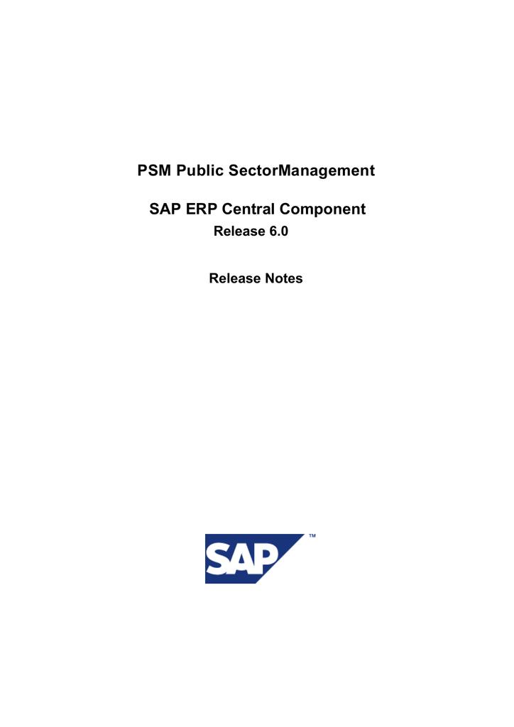 PSM Public SectorManagement SAP ERP Central Component