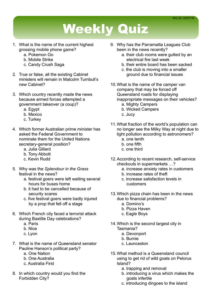 Weekly Quiz - Classroom Solutions