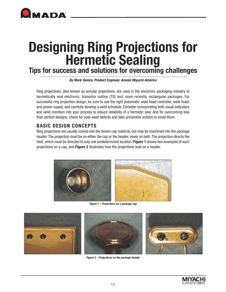 Designing Ring Projections for Hermetic Sealing