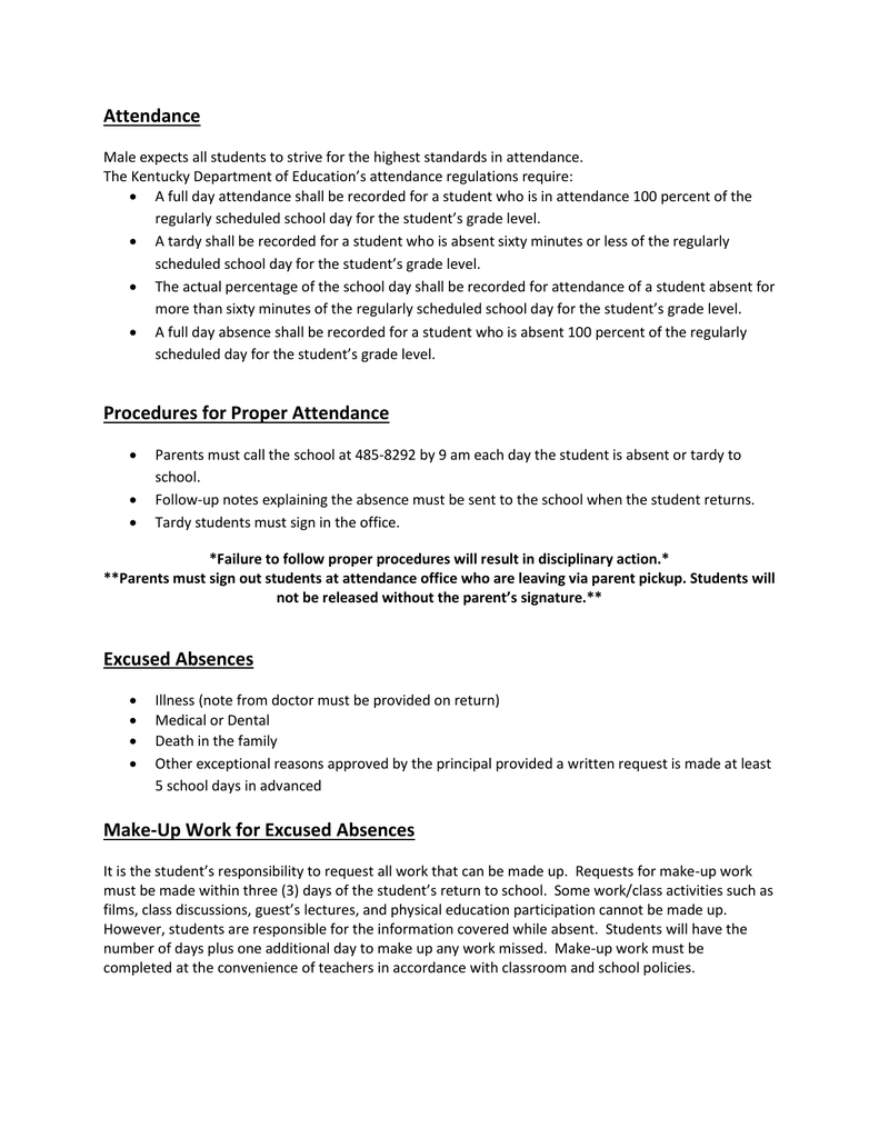 attendance procedures for proper attendance excused absences
