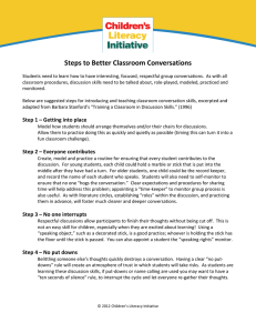 Steps to Better Classroom Conversations