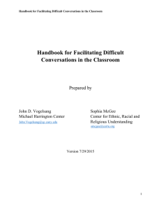 Handbook for Facilitating Difficult Conversations in the Classroom
