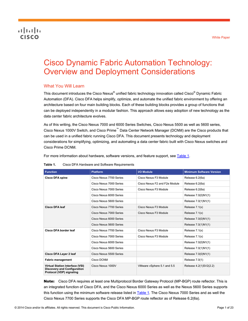 Cisco Dynamic Fabric Automation Technology: Overview and