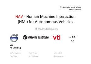 HAV -‐ Human Machine Interac]on (HMI) for Autonomous
