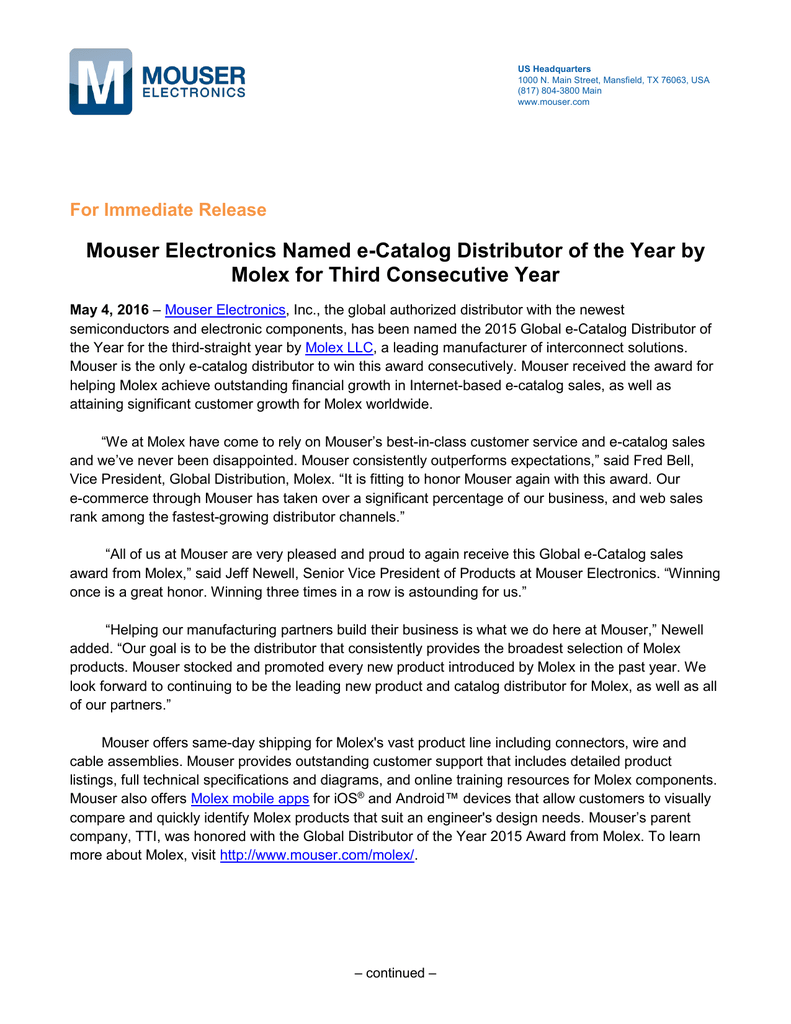 Mouser Electronics Named e-Catalog Distributor of the Year by
