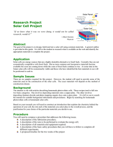 Research Project Solar Cell Project