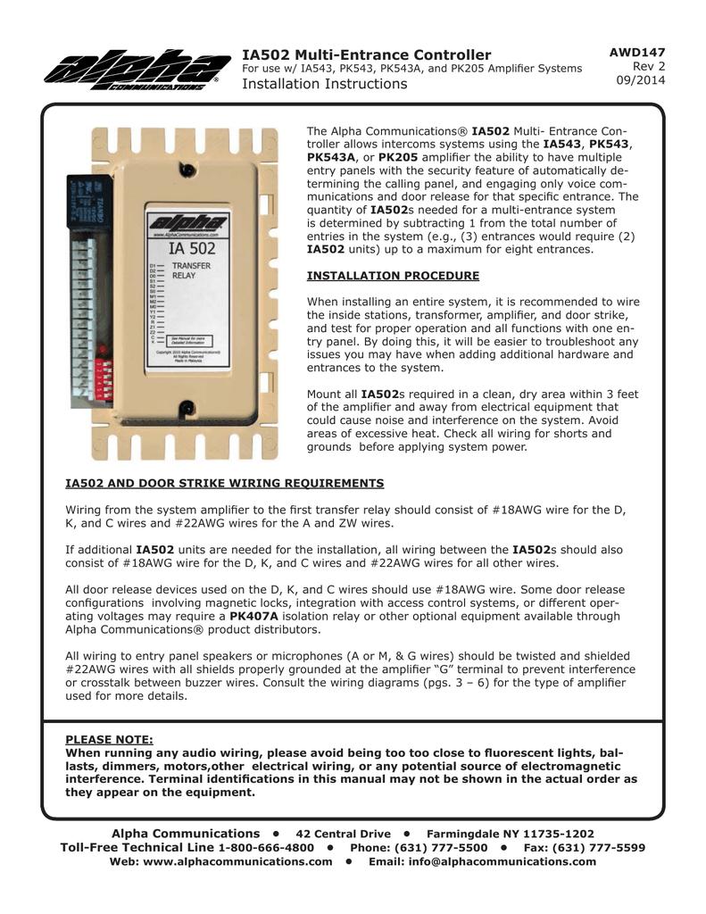 Ia502 Multi Entrance Controller Installation Instructions Type C Door Lock Wiring Diagram