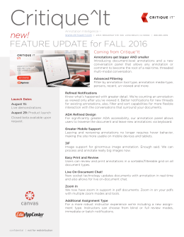 FEATURE UPDATE for FALL 2016 new!