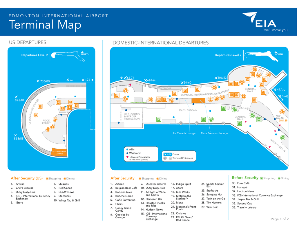 edmonton international airport arrivals map Terminal Map Edmonton International Airport edmonton international airport arrivals map