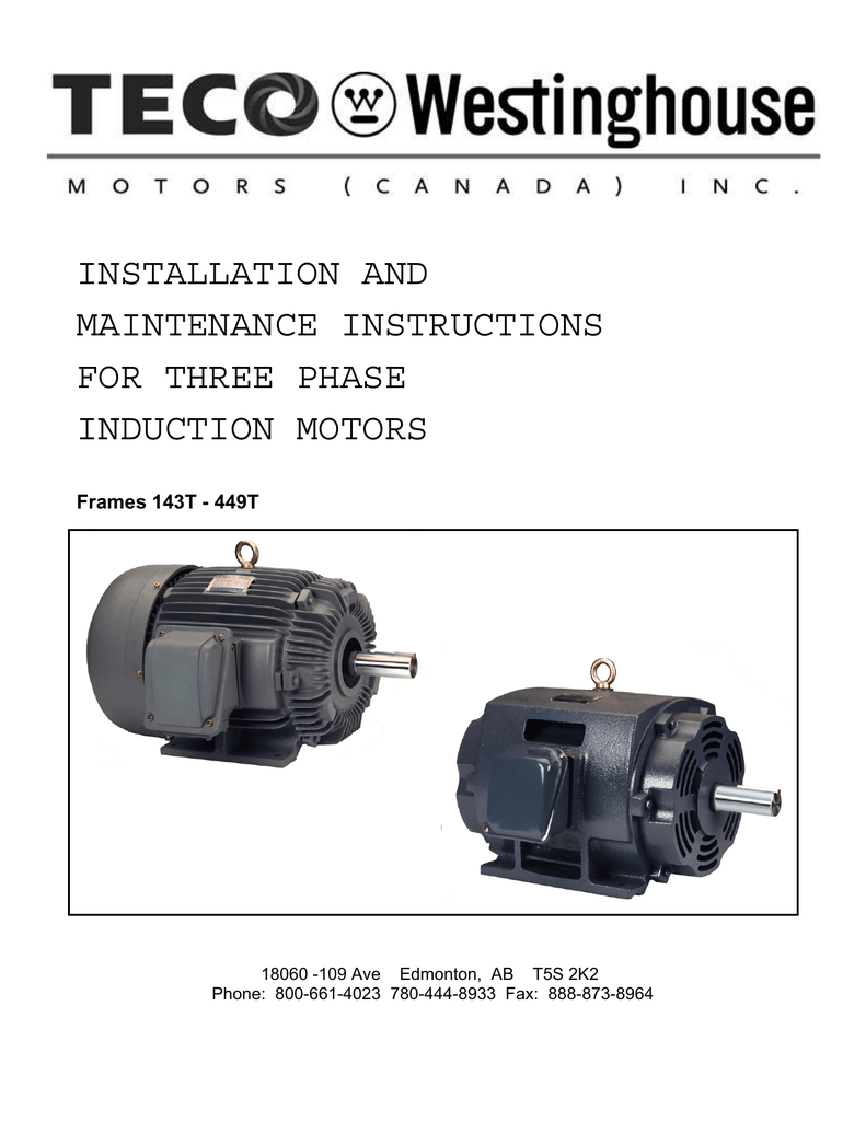 Manual - TECO-Westinghouse Motors (Canada) Inc. on