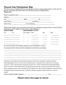 Church Van Permission Slip - Wheelwright Baptist Center