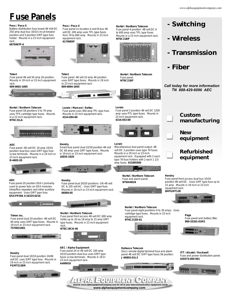 fuse panels alpha equipment company